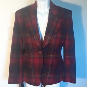 The Limited Wool Blend Plain Blazer Red Blue yello